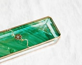 Stained Glass Box Teal Green Baroque 2x6 w/ two Gold-plated Apple Blossom Flower Hand-crafted OOAK