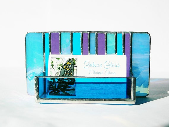 Stained Glass Business Card Holder Blue Iridescent Purple Peacock Turquoise Art Glass Home Office Desk Accessory Handmade OOAK Striped