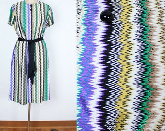 SALE Vintage 60s Zig Zag Dress
