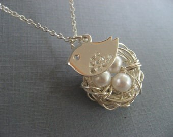 Mothers Day Pendant, Mama Bird Necklace, Silver Bird Nest Pendant, Silver Necklace
