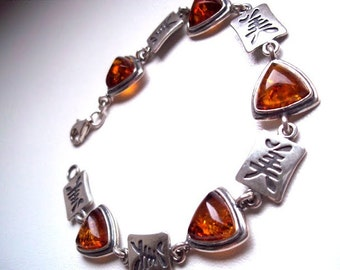 "Elegant  Sterling Silver  925  Cognac colour  Baltic Amber Bracelet "" BEAUTY ""  From ancient China."