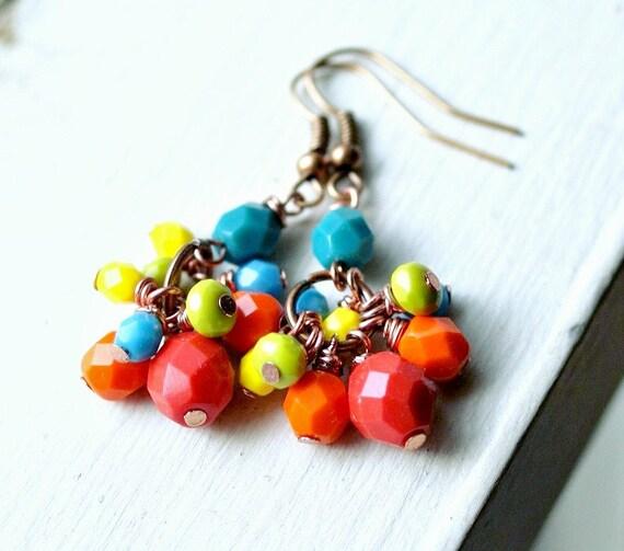 carmen colorful beaded copper french hook earrings