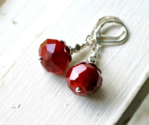 cherry bomb red glass and silver lever back earrings