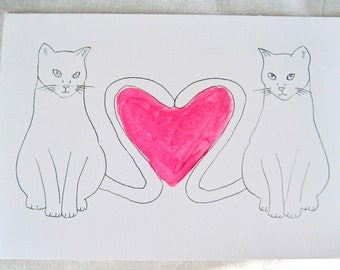 Hand drawn valentines card with two cats, neon pink heart, love,
