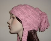 Chunky Earflap Hat- Hand Knit in Pink Peppermint, Machine washable wool Blend, gifts for her