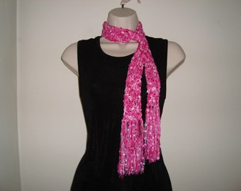 Hand Knit Skinny Scarf with Fringe, Choose Hot Pink or Blue/gold, Slinky Luxury Yarn, gifts for her