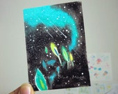 Aurora Art ACEO Original Aurora Borealis Northern Lights - Dissolving plants - Nightscapes 34