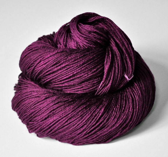 Burning fuchsia OOAK  - Merino/Silk superwash yarn fingering weight