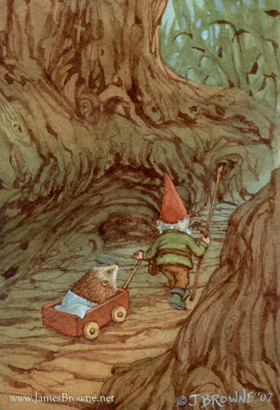 Helping Hand Gnome and Hedgehog Greeting Card
