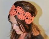 Mothers Day Gift Crochet Headband Coral Headband  Coral Hairwrap Spice Peach Persimon Pumpkin Gift under 25