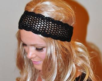 Black Headband Crochet Headband Women Adult COTTON Black Headwrap Hair Scarf Headcover Black Headband Cotton Lace Gift under 25