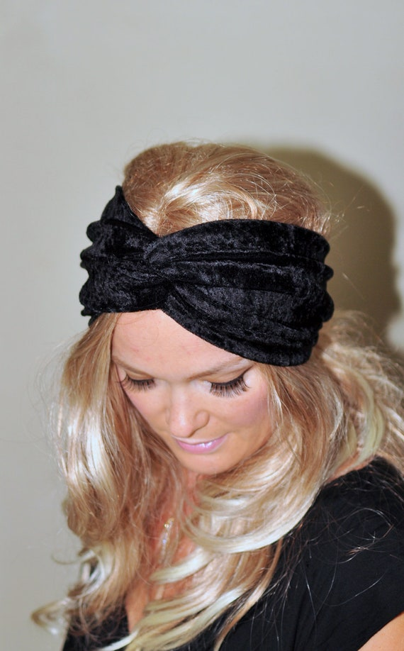 Turban Headband Velour Turban Black Earwarmer Stretch Headwrap Twist Hair Wrap Ear Warmer Girly Romantic Gift under 25