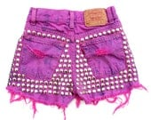 The Flamingo - Pink Studded Tie Dye Re Worked Denim Levis Cut Offs Shorts