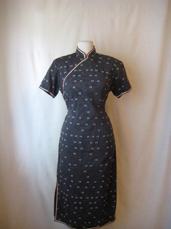 cheongsam dress. 60s wiggle dress. vintage 1960s dress.