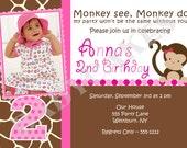 Monkey Birthday Party / Invitation / invite / photo / picture/ girl Monkey /pink/ printable/ DIY /Digital