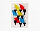 Geometric Issue (Blue, yellow and red). Illustration print (A4).
