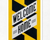 Welcome Home (yellow, black) Large illustration print 11.70 x 16.50 (A3). (Special SPRING  offer: Get a poster for free)