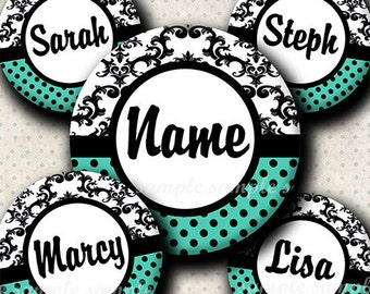 INSTANT DOWNLOAD Editable JPG Damask Turquoise (515) 4x6 Bottle Cap Images Digital Collage Sheet for bottlecaps hair bows . bottlecap images