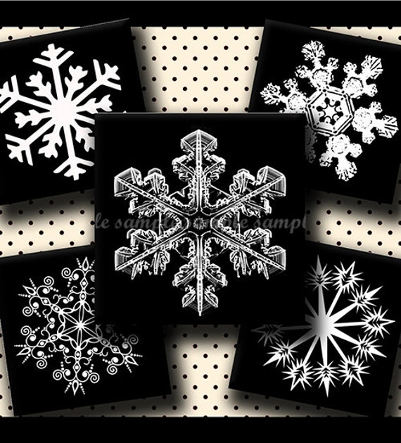 INSTANT DOWNLOAD Black And White Snowflakes (514) 4x6 Digital Collage Sheet 1 inch square images for glass tiles resin pendants magnets