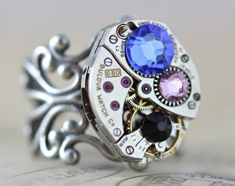 Steampunk Ring Custom Made Jewelry Mothers Ring Birthstone Ring Silver Ring Personalized Jewelry Watch Ring Unique Ring Grandmothers Ring