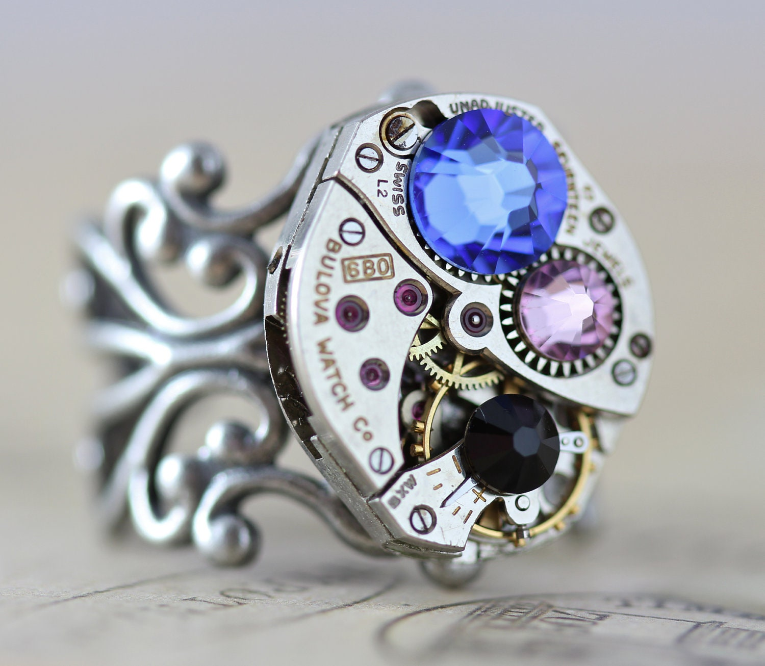 steunk ring custom made jewelry mothers ring birthstone