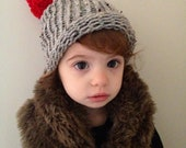 Adorable Christmas kids slouchy beanie - hand knit with big red Pom Pom puff ball - warm and soft - Christmas photo prop 2t