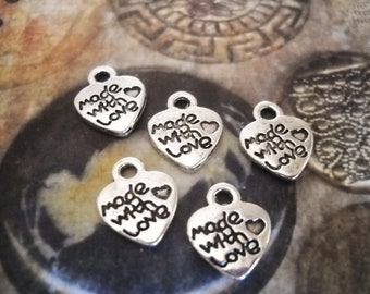 Made With Love Charms-Jewelry Tags-Word Charms-Antiqued Silver-50pcs