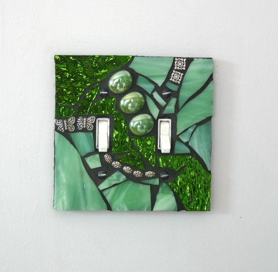 Gorgeous Green -  Handmade Double Mosaic Light Switch Cover Wall Plate