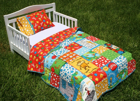 Lorax Toddler Bed Set Bright Organic Quilt and Pillow Case