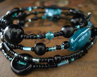 Beaded Memory Wire Bracelet Multi Strand Black and Turquoise Wrapped Bracelet