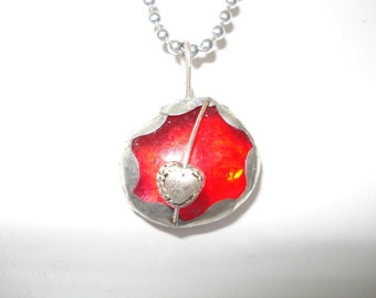 Brilliant Red Glass Valentine Bauble Pendant with Puffed Heart Free US Shipping