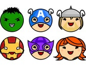 """Custom Set for Ashley W!! - Cute Avengers set of 1"""" pins/buttons"""