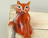 Vintage Carved Bakelite Cat Pin