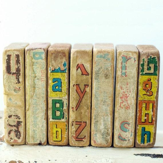 RESERVED FOR NETA Wooden Toy Blocks Shabby Vintage