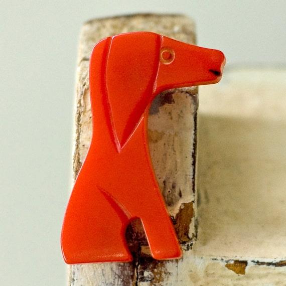 Bakelite Puppy Dog Red Pin Vintage