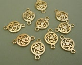 10pcs-Connector Pendant Charm14K Gold Plated  19x12mm 2holes 3mm.