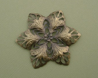 Filigree Steampunk  Wraps Stamping Antique Bronz Flower 57mm - 6 pcs.