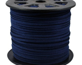 Faux Suede  Cord Lace Leather Cord Flat Dark Blue 3x1.5mm-20ft