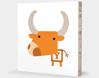 Y is for Yak : ABC Block Bamboo Wall Art Series // Alphabet Kids Wall Art Nursery Room Decor Animal Art Baby