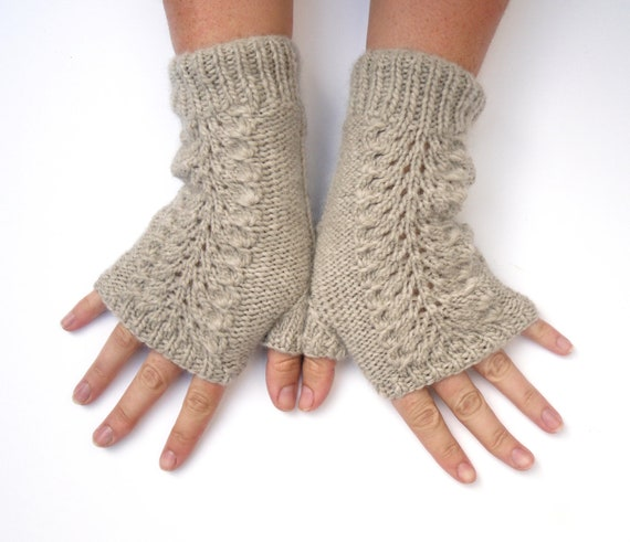 Fingerless lace gloves / womens mittens hand knitted , cabled in grey taupe organic merino wool