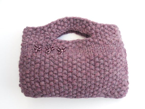 SALE CLEARANCE , Clutch purse - purple bag hand knitted , Aubergine 100% wool ,  mothers day , gift for her OOAK