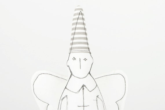 Angel for him -   Black & White guardian angel With white wings Wearing Striped gray hat - timo handmade fabric eco doll