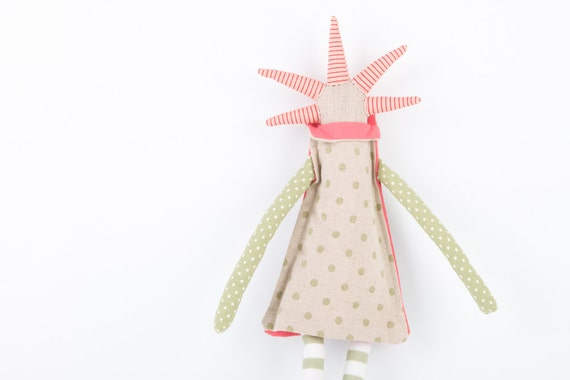 Ooak Canvas spikes  doll  With cool Peach  Haircut , Canvas dress with greenish dots , pink collar, striped pants. timo handmade doll