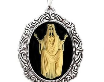 Halloween Jewelry - Santa Muerte Cameo Necklace - Skeleton Jewelry - Saint of Death