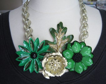 Statement Necklace, Enamel Flower, Vintage, Sarah Coventry, Upcycled Brooch, Lisner Necklace , Green, Gold, OOAK - Emerald Fields