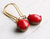 Cherry Red Earrings .. Vintage Opaque Cherry Glass Jewels in Bronze Settings