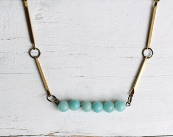 Turquoise Necklace ... Seafoam Vintage Industrial Brass with Delicate Chalcedony