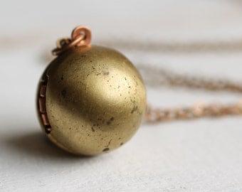 Ball Locket ... Sphere Globe Vintage Gold Brass Copper Industrial Modern Statement Pendant