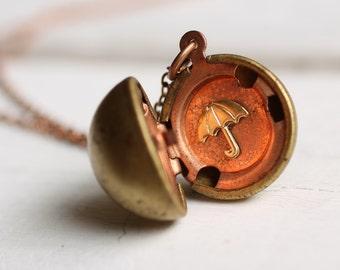 Ball Locket ... Rainy Day Umbrella Sphere Globe Vintage Gold Brass Copper April Showers