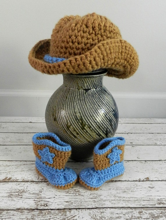 Crochet Pattern For Cowboy Hat And Boots : Crochet Cowboy Hat and Boots by OnHeathersHook on Etsy
